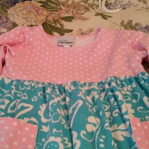 Flap Happy Dresses - Flap Happy Size 3T Blue Pink Polka Dot Dress